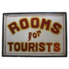 "Circa: 1920-1950 Large Two Sided ""Rooms For Tourists"" Wooden Trade Sign"
