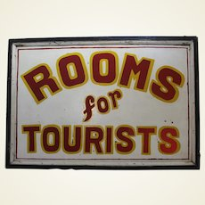 """Circa: 1920-1950 Large Two Sided """"Rooms For Tourists"""" Wooden Trade Sign"""