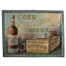 Turn of the Century Irish 'Cork Distilleries Whisky' Self Framed Metal Litho Sign