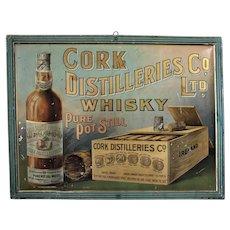 Turn of the Century Irish 'Cork Distilleries Whisky' Self Framed Metal Litho Sign