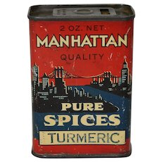 1930's 'Manhattan Pure Spices' Litho Spice Tin