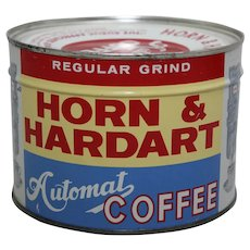 "1940's, 50's Unopened Near Mint Key-Wind ""Horn & Hardart Automat Coffee"" Litho Coffee Can"