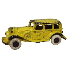 1930's A C Williams Cast Iron Yellow 4 Door Sedan Car