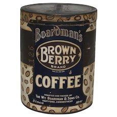 "Late 1800's/ Turn of Century ""Brown Berry"" Coffee 1 lb. Paper Labeled Container."