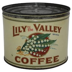 "1950s ""Lily of the Valley"" Litho Key Wind 1 lb. Coffee Can"