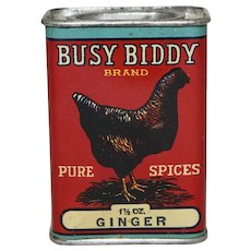 "Circa: 1920's, 30's ""Busy Biddy"" Brand Ginger Litho Spice Tin"