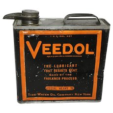 Rare, Circa: 1920's, 30's Veedol 1 Gal. Litho Motor Oil Can