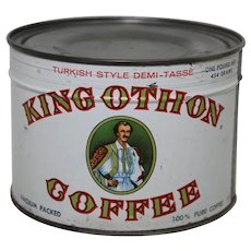 1950's Unopened 1 lb. King Othon Key Wind Coffee Can