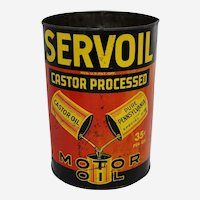 "Rare, Circa: 1940's ""Servoil"" 5 Qt. Litho Motor Oil Can"