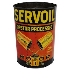 "Rare, Circa: 1940's ""Servoil"" 5 Qt. Litho Motor Oil Can"