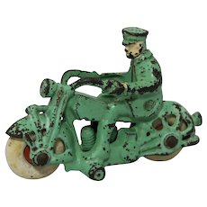 Circa: 1930's A.C. Williams Cast Iron Motorcycle, Rare Green Color