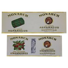 Two Unused 1920-1940 Monarch Foods Fruit/Vegetable Can Labels