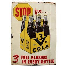 "Rare 1958-1962 ""3 V-COLA""  19 1/2"" x 27 1/2""  Embossed Metal Litho Advertising Sign"