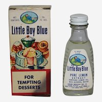 "Circa: 1950-1963 ""Little Boy Blue"" Lemon Extract Bottle with Original Box."