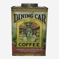 """1908-1923 """"Dining Car Coffee"""" 3 lb. Paper Labeled Coffee Tin"""
