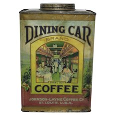 "1908-1923 ""Dining Car Coffee"" 3 lb. Paper Labeled Coffee Tin"