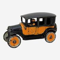 "Circa: 1920's Small 5 1/4"" Freidag Cast Iron Yellow Taxi Cab"
