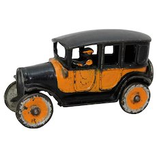 "Circa: 1920's Small 5 1/4"" Freidag Cast Iron Yellow Taxi Cab"