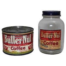 1940's, 50's Butter-Nut 1 lb. Key Wind Coffee Can with 1 Lb. Beechnut Coffee Jar.