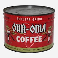 """Circa: 1935-1955 Unopened 1 lb. """"Our-Oma"""" Litho Key-Wind Coffee Can"""