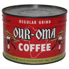 "Circa: 1935-1955 Unopened 1 lb. ""Our-Oma"" Litho Key-Wind Coffee Can"