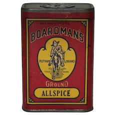 "Early 1900's Paper Labeled ""Boardman's"" Spice Tin"