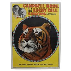 "Circa: 1920's, Original ""Campbell Bros. and Lucky Bill Shows"" Color Lithograph  Circus Poster."