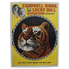 """Circa: 1920's, Original """"Campbell Bros. and Lucky Bill Shows"""" Color Lithograph  Circus Poster."""