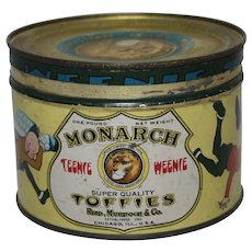 Circa: 1928  Monarch Toffies Key Wind Tin featuring Teenie Weenie Characters