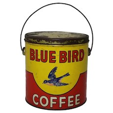 Early 1900's Litho 3 lb. 'Blue Bird' Coffee Tin Pail