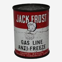 "Circa: 1950's  Unopened""Jack Frost"" Gas Line Anti-Freeze Litho Tin"