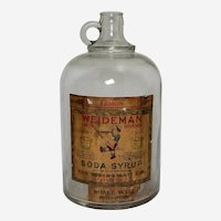 "Very Rare, Early 1920's  ""Weideman Soda Syrup"" One Gallon Glass Jug"
