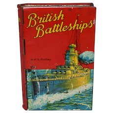 "Late 1920's, 1930's ""British Battleships"" Book Shaped Lyon's Toffee Tin"