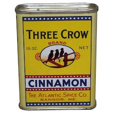 1940-1960 'Three Crow' Brand Cinnamon Litho Spice Tin