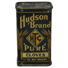 Early 1900's 'Hudson Brand' Cloves Litho Spice Tin