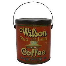 Early 1900's Peoria, Illinois 'Wilson Red Label' Large 4 lb. Litho Tin Coffee Pail