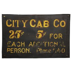 "Rare 1915-1925 ""City Cab Co."" 25""x 16"" Leather Advertising Sign"