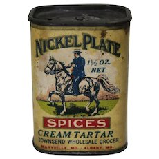 Early 1900's 'Nickel Plate' (Cream Tartar) Spice Container