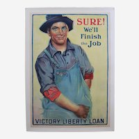 "Original, Circa: 1918-1919, Large 29"" x 40 1/2""  World War I 'Victory Liberty Loan' Canvas Mounted Poster"