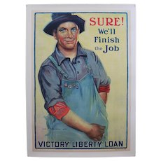 "Original, Circa: 1918-1919, Large 29"" x 40 1/2""  World War I 'Victory Liberty Loan' Canvas Mounted Poster"