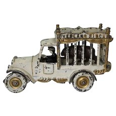 "Scarce 1920's Cast Iron Kenton 7 1/2"" 'Overland Circus' Cage Truck with Bear"