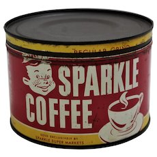 Circa: 1950's, 'Sparkle Coffee' Key Wind 1 lb. Litho Coffee Can