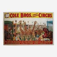"Circa: 1930's, Large 41"" Original ""Cole Bros."" Color Lithograph Circus Poster on Canvas"