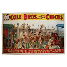 "Circa: 1930's, Large 41"" Original ""Cole Bros."" Color Lithograph Circus Poster on Canvas"