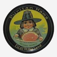 Circa: 1910-1940 'Puritan Ham' Metal Litho Advertising Tip Tray