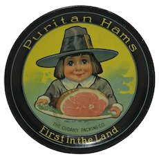 Circa: 1910-1940 'Puritan Ham' Metal Litho Advertising Tip Tray