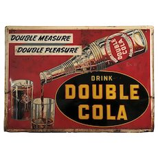 "Rare, Circa. 1949 ""Drink Double Cola"" Embossed 28"" x 20"" Metal Sign"
