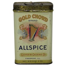 "Early 1900's ""Gold Cord"" Litho 2 oz. (Allspice) Spice Tin"