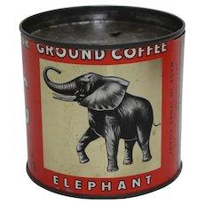 "Circa: 1940's, 50's Ivory Coast ""Jag"" Brand  Key Wind Litho Coffee Can"