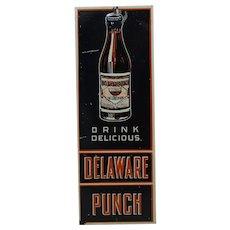 1920's, 30's 'Delaware Punch'  Embossed Metal Door Push